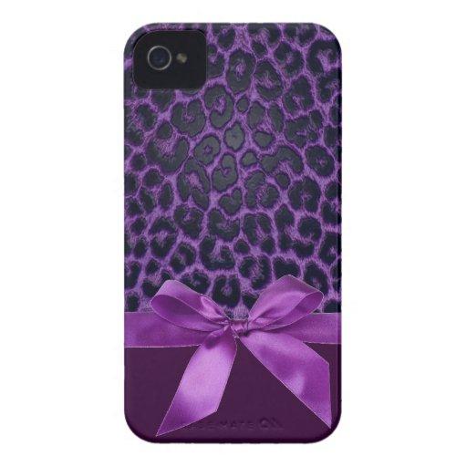 Purpe Leopard-Druck iPhone Case-Mate-Fall iPhone 4 Hülle