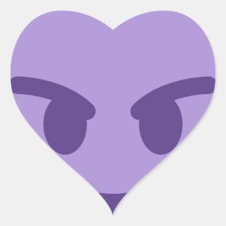 Purple Devil Emoji Herz-Aufkleber