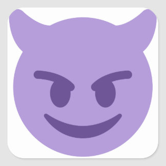 Purple Devil Emoji Quadratischer Aufkleber