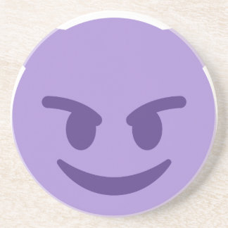 Purple Devil Emoji Sandstein Untersetzer