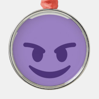 Purple Devil Emoji Silbernes Ornament