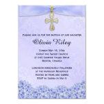 Purple Girls Baptism Christening Invitation