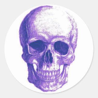 Purple skull runder aufkleber