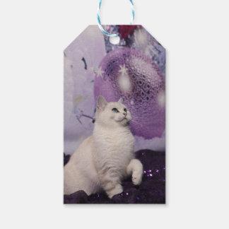 Purple XMAS Cat Geschenkanhänger