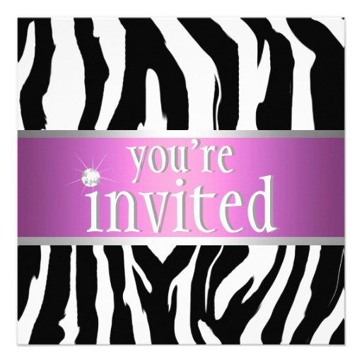 Purpurrote rosa Zebra-Geburtstags-Einladung