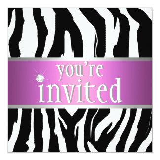 Purpurrote rosa Zebra-Geburtstags-Einladung Quadratische 13,3 Cm Einladungskarte