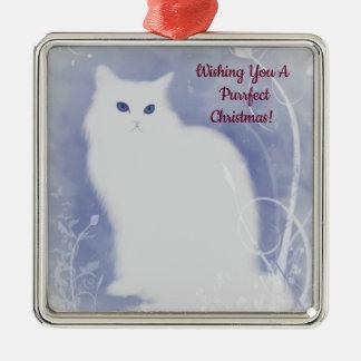 Purrfect Weihnachtskatze Silbernes Ornament
