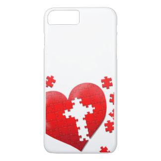 Puzzle des christlichen Liebeherzens iPhone 8 Plus/7 Plus Hülle