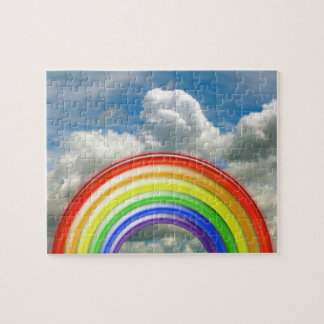 Puzzlespiel - 3-D Regenbogen gegen bewölkten Puzzle