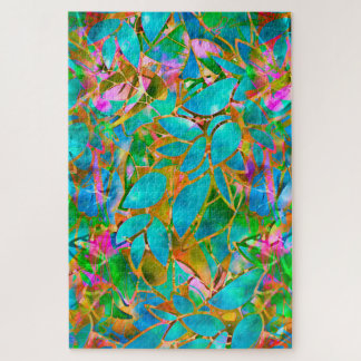 Puzzlespiel-abstraktes beflecktes mit Blumenglas Puzzle