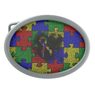 Puzzlespiel-Band-Schmutz-Herz Ovale Gürtelschnallen