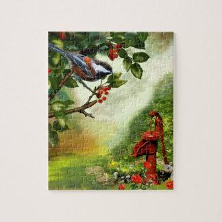"""Puzzlespiel, """"Chickadee in einem Sherry-Baum """" Puzzle"""