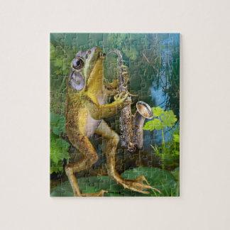Puzzlespiel, Frosch, der einen Saxophone. spielt Puzzle