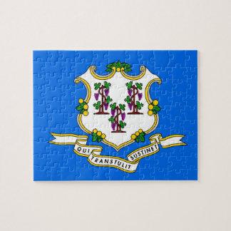 Puzzlespiel mit Flagge von Connecticut-Staat Puzzle