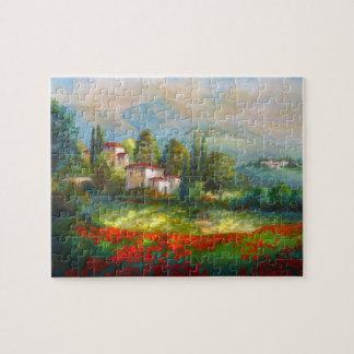 Puzzlespiel mit italienischen Dorf-und Puzzle