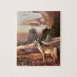 Puzzlespiel mit Kojoten und Lokomotive Puzzle