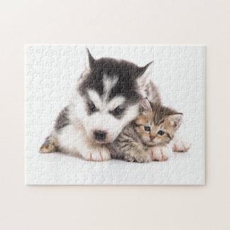 Puzzlespiel - niedlicher Welpe Husty u. Kätzchen Puzzle
