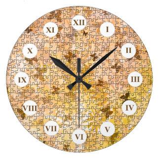 Puzzlespiel Schmetterlinge und Gänseblümchen-Braun Große Wanduhr