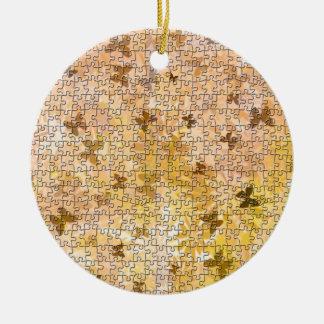 Puzzlespiel Schmetterlinge und Gänseblümchen-Braun Keramik Ornament
