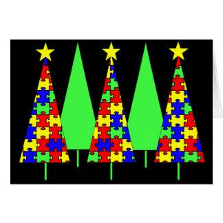 Puzzlespiel-Weihnachtsbäume - Autismus-Bewusstsein Karte