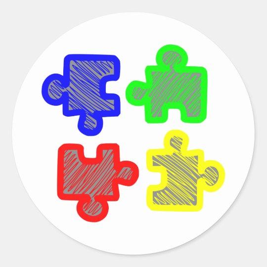 Puzzleteile jigsaw puzzle runder aufkleber