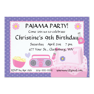 Pyjama-Party-Geburtstag 12,7 X 17,8 Cm Einladungskarte