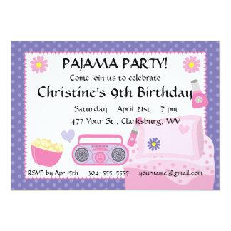 Pyjama-Party-Geburtstag Personalisierte Ankündigung