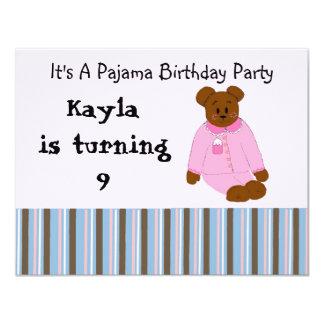 Pyjama-Party-Geburtstags-Einladungen 10,8 X 14 Cm Einladungskarte