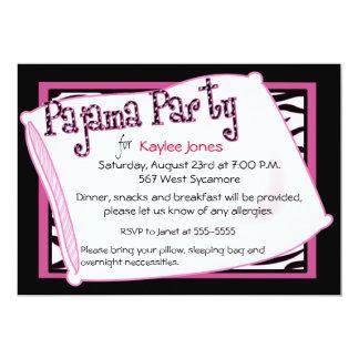 Pyjama-Party im Schwarzen und im Rosa 12,7 X 17,8 Cm Einladungskarte