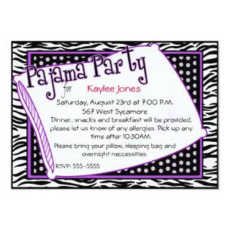 Pyjama-Party in Schwarzem und in Lila 12,7 X 17,8 Cm Einladungskarte
