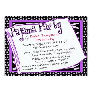 Pyjama-Party in Schwarzem und in Lila Individuelle Ankündigskarten