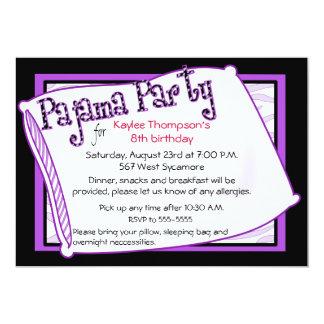 Pyjama-Party in Schwarzem und in Lila Einladungen