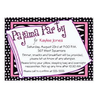 Pyjama-Party-Polka-Punkt-Rosa 12,7 X 17,8 Cm Einladungskarte