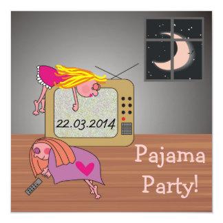 Pyjama-Party-Schlafenmädchen-niedliche Einladungen