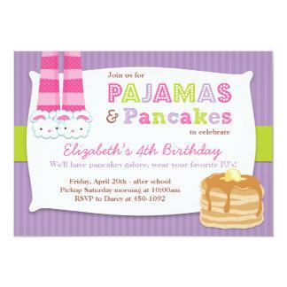 Pyjama-und Pfannkuchen-Geburtstags-PartySleepover Personalisierte Ankündigungskarte