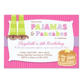 Pyjama-und Pfannkuchen-Geburtstags-PartySleepover Ankündigungskarten
