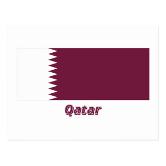 Qatar-Flagge mit Namen Postkarte