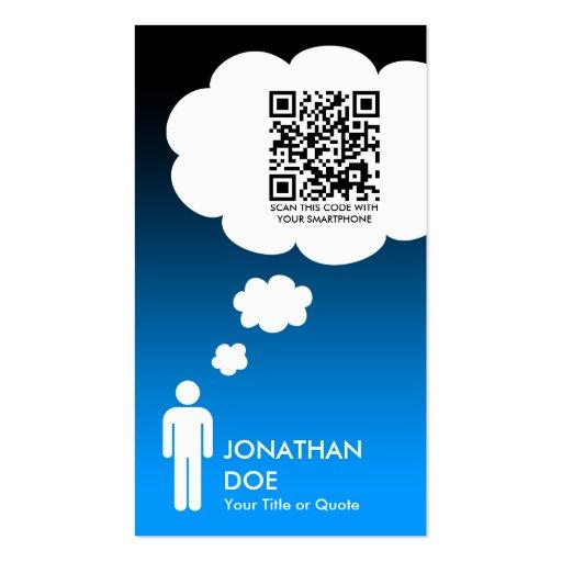 qr Code-Gedankenblase (männliches Strichmännchen) Visitenkarte