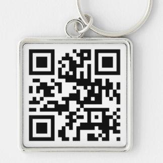 QR Code - Gespräch nerdy zu mir! Silberfarbener Quadratischer Schlüsselanhänger