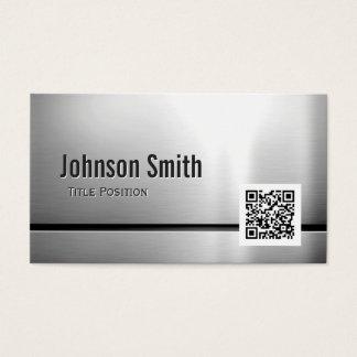 QR Code und Edelstahl - gebürsteter Metallblick Visitenkarten