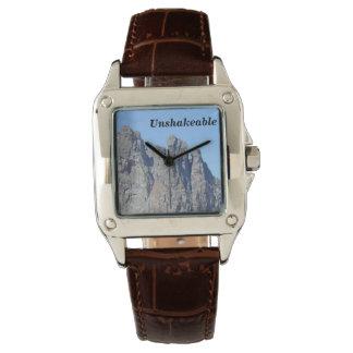 Quadrat-gesichtige Uhr mit Brown-Lederband