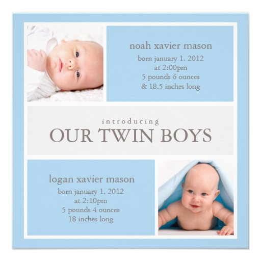 Quadrat paart Geburts-Mitteilung der Collagen-| Personalisierte Einladungskarte