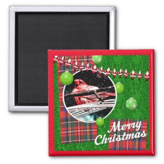 "Quadrat-""roter Kardinals-frohe Weihnacht-"" Magnet"