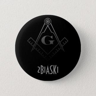 Quadrat und Kompass-Knopf Runder Button 5,1 Cm