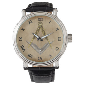 Quadrat und Kompass mit allem sehenden Auge Armbanduhr