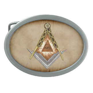 Quadrat und Kompass mit allem sehenden Auge Ovale Gürtelschnalle