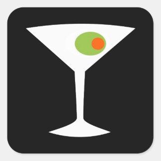 Quadratische Aufkleber klassischer Film-Martinis