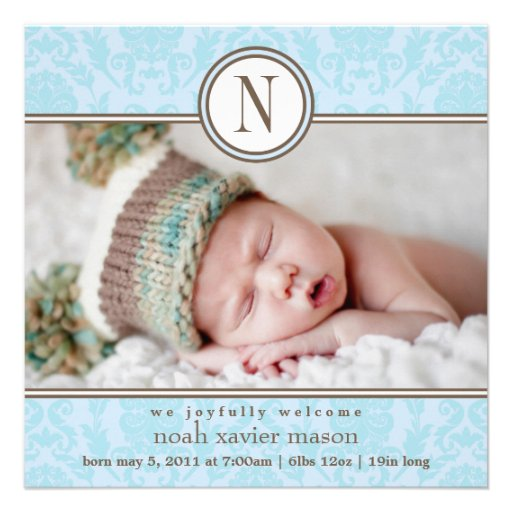 Quadratische blaue Geburts-Mitteilung des Damast-| Einladungen