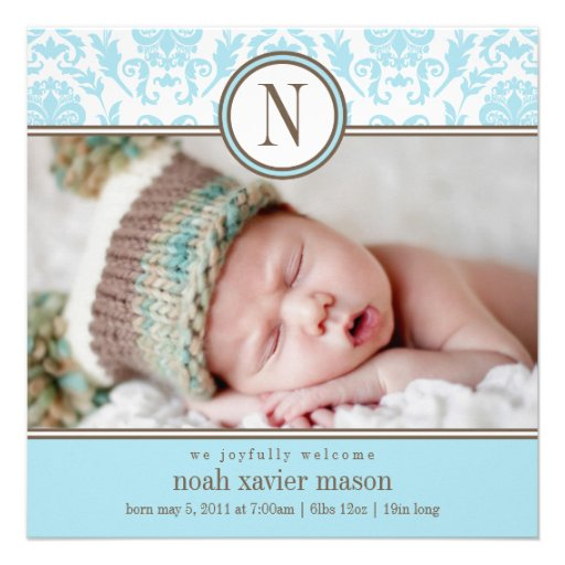 Quadratische blaue Geburts-Mitteilung des Damast-| Individuelle Ankündigskarten