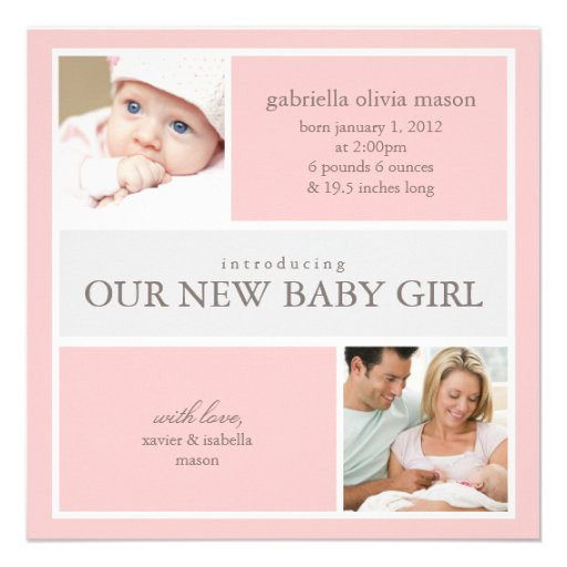 Quadratische Geburts-Mitteilung der Collagen-| Personalisierte Einladungen